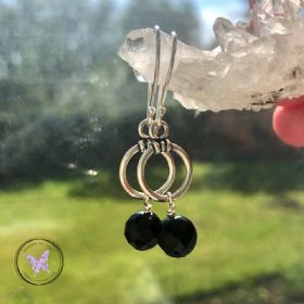 Black Onyx Silver Hoop Drop Earrings